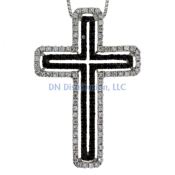.63 Ct Diamond & 18KT White Gold Cross Religious Pendant 01 (CL779)