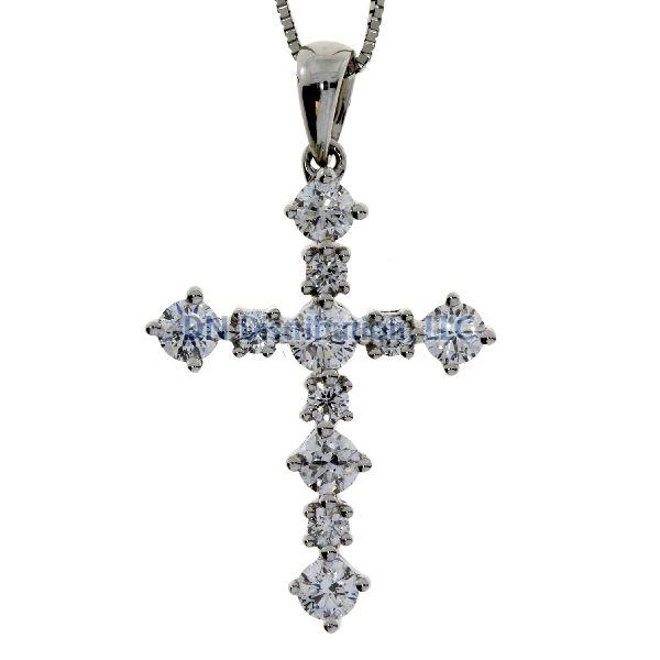 .63 Ct Diamond & 18KT White Gold Cross Religious Pendant (CL1299)