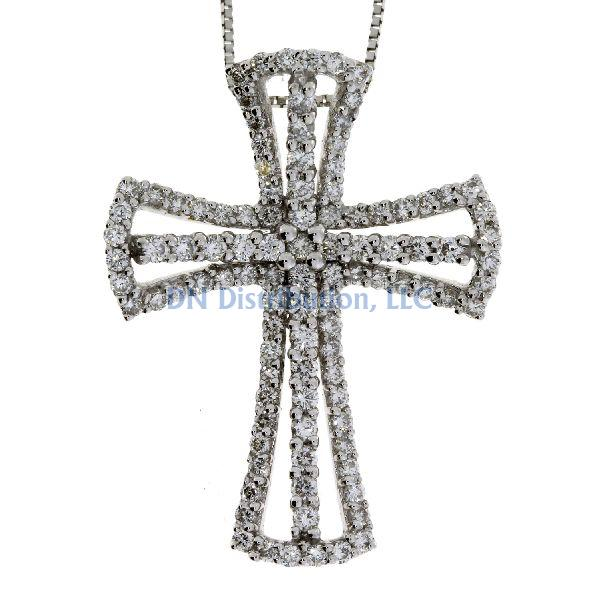 .75 Ct Diamond & 18KT White Gold Cross Religious Pendant (CL995)