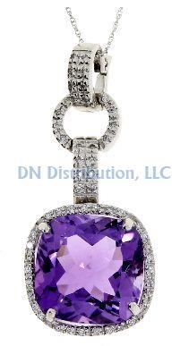 9.52 Ct Amethyst Diamond & 18KT White Gold Pendant (CL1250)