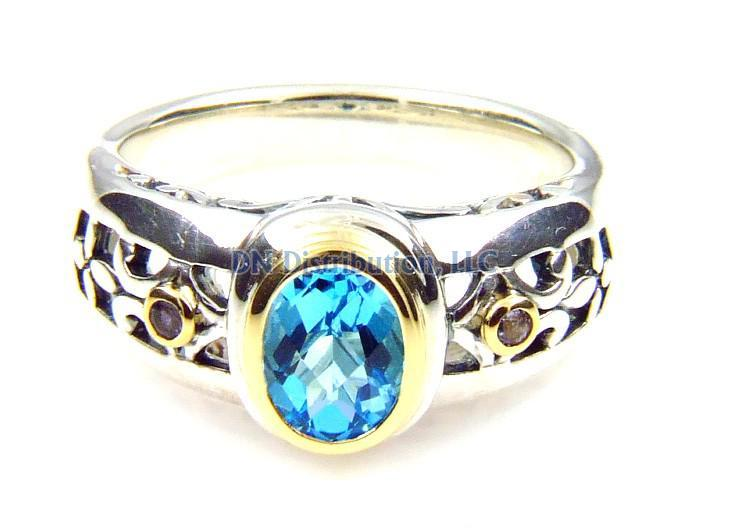 Sterling Silver Blue Topaz Tanzanite Ring (CL199)