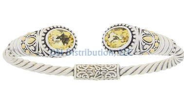 Sterling Silver Citrine Bangle Bracelet (CL159)