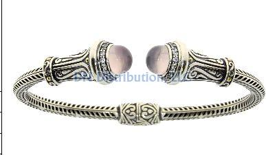 Sterling Silver Quartz Bangle Bracelet (CL149)