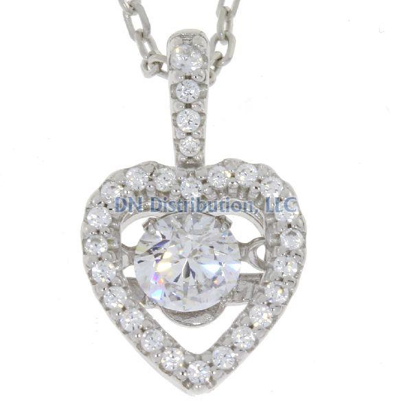 Heart Shape Sterling Silver & CZ Dancing Pendant (CL39)