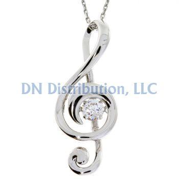 Treble Clef Sterling Silver & CZ Dancing Pendant (CL35)