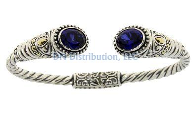 Sterling Silver Created Sapphire Bangle Bracelet (CL159)