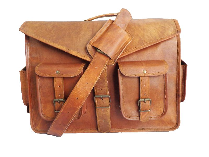 Genuine Goat Leather Laptop Messenger Bag (QOPLB001)