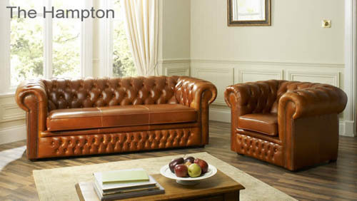 Leather Wooden Sofa Set
