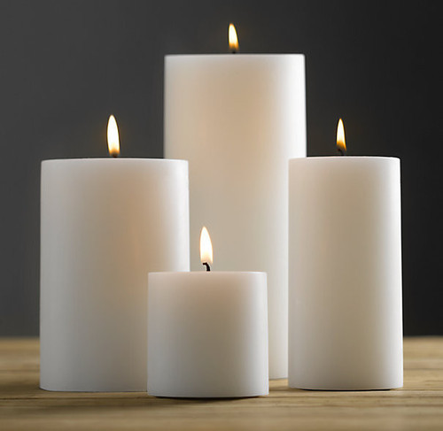 White Circular Pillar Candle
