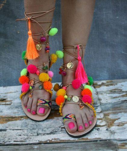 Beach Pompom Boho Sandals
