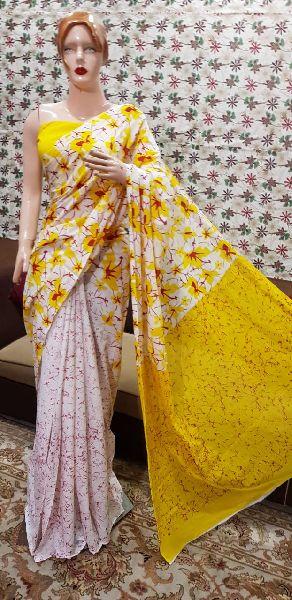 Cotton Hand Block Printed Sarees