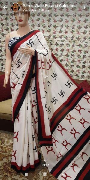 Mulmul Hand Block Printed Sarees