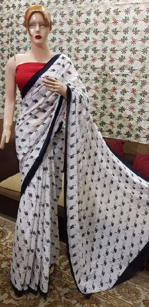 Party Wear Hand Block Printed Sarees