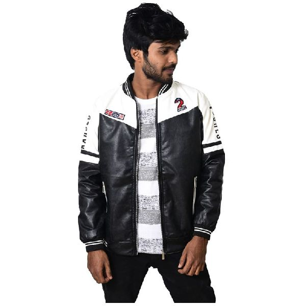 Men's Varsity Leather Jacket - Multicolor
