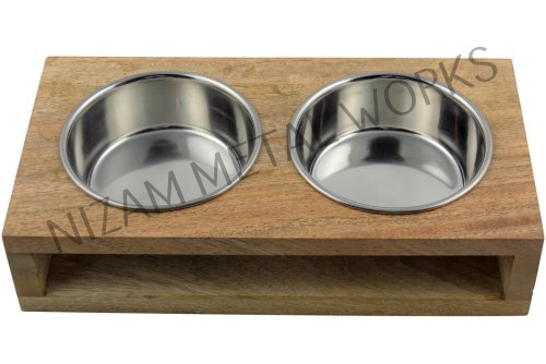 Wooden Dog Bowl Stand