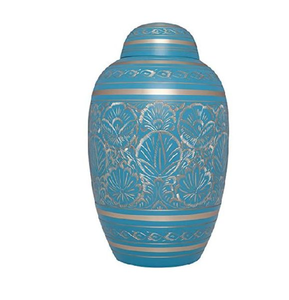 Light Blue and Gold Funeral Urn by M S Handicrafts - Cremation Urn for Human Ashes - Hand Made in B