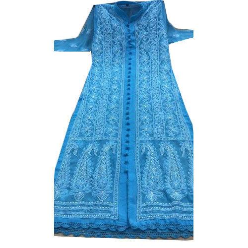 Cotton Net Embroidered Kurti