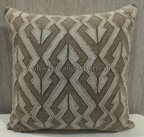 Cotton Slub (S) Brown Cushion Cover