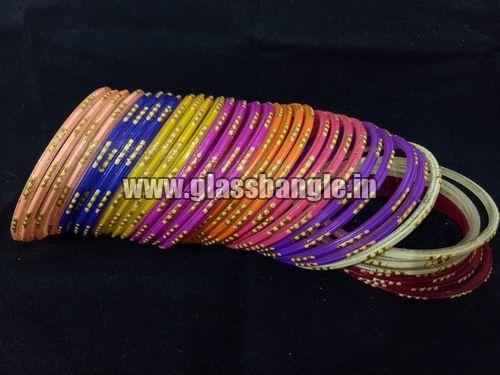 Golden Glitter Glass Bangles