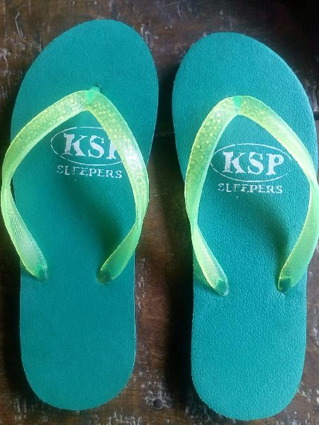 Ladies Green Rubber Slippers