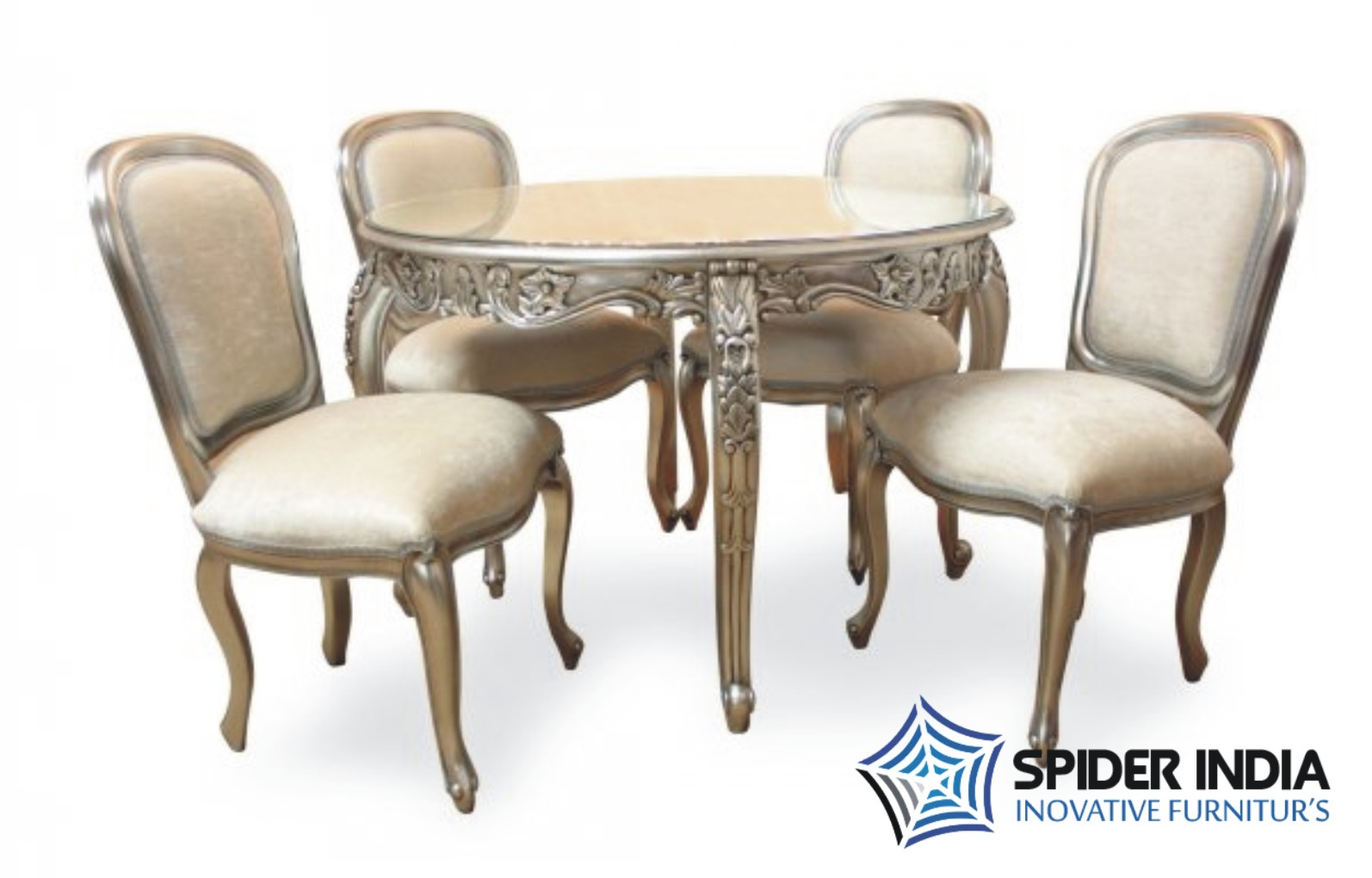 Silver Inlay Dining Table Set