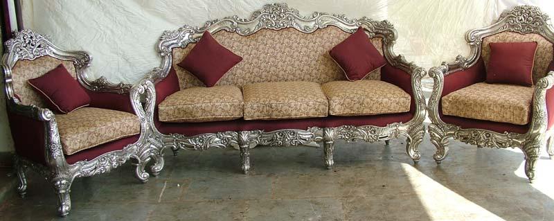 Teak wood silver inlay victorian  sofa set