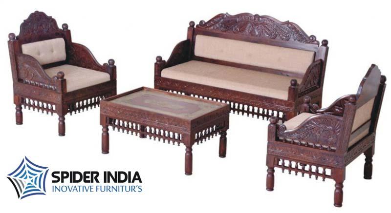 Sensational Teak Wood Carved Sofa Set Manufacturer In Jodhpur Rajasthan Customarchery Wood Chair Design Ideas Customarcherynet