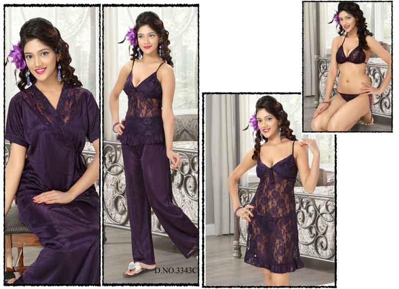 93fe5fedb 6 Pieces Bridal Nightwear Set Manufacturer in New Delhi Delhi India ...