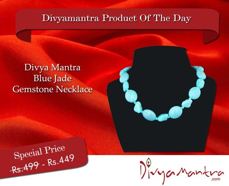Divya Mantra Blue Jade Gemstone Necklace (DVYM0002773)