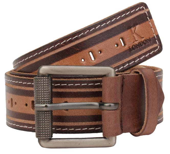 Men's Casual Brown Genuine Leather Belt (twotone_punch_holes_brn)
