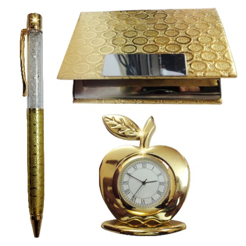24k Gold Plated Corporate Set (Crystal Pen, Business Card Holder & Ta (GP-60)