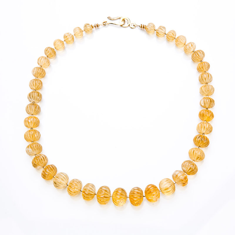 Carved Citrine Gold Beads Necklace