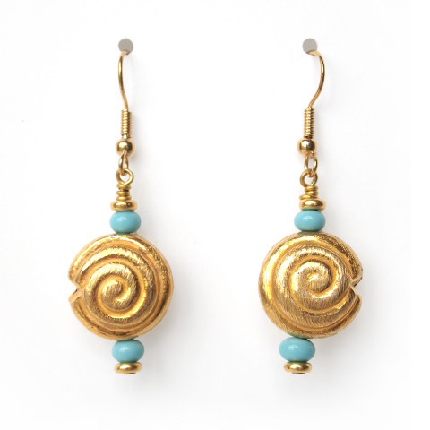 Gold Disc Turquoise Earrings