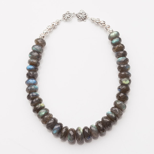 Labradorite Faceted Rondelles Beads Necklace