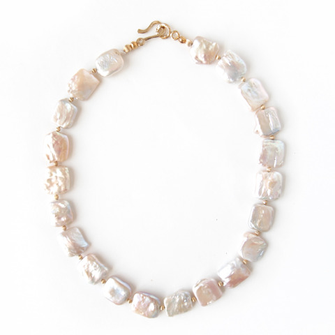 Pearl Square Coin Necklace