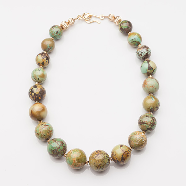 Round Graduated Gold Corrugated Beads Necklace