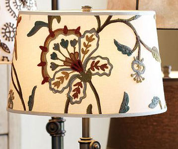 Crewel Embroidered Tapered Drum Lamp Shade Multicolor Off