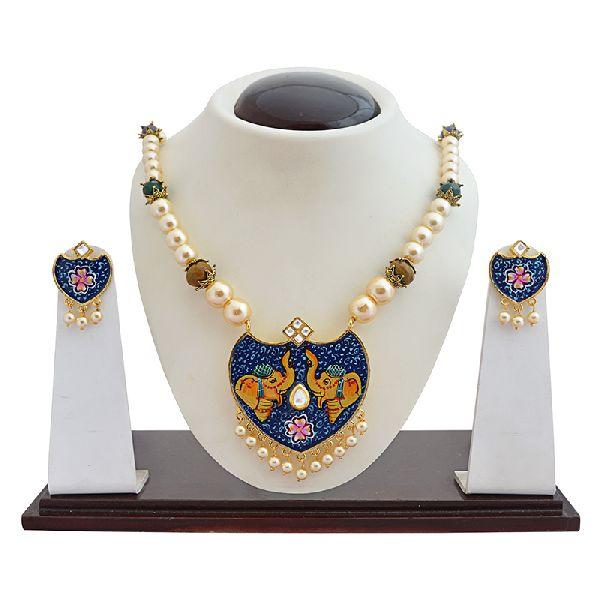 Meenakari Hand Painted Gold Plated Moti mala set