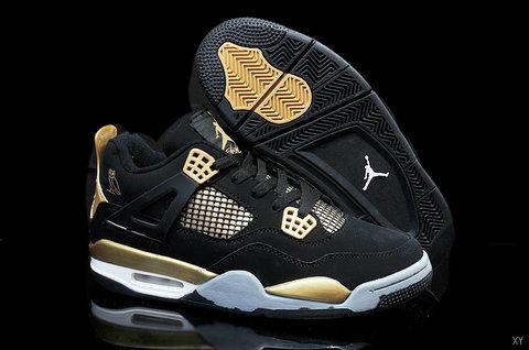 Nike Air Jordan 4 Black Golden Shoes