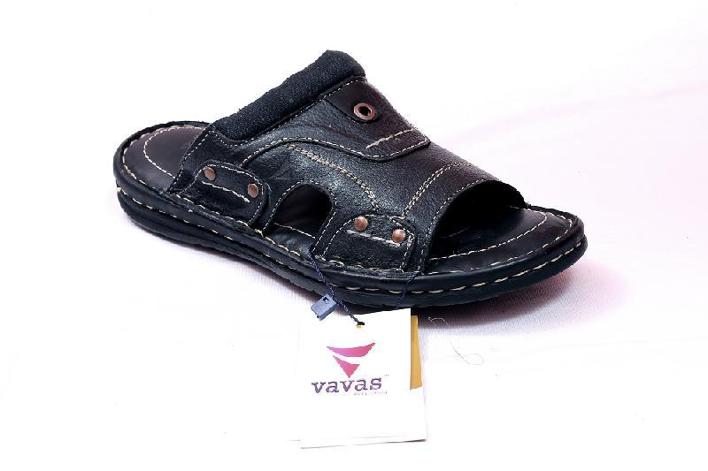 VAVAS MENS BLACK LEATHER SANDAL (VH6161103)