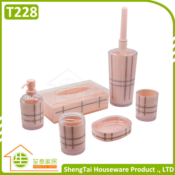 Uk Fashion Grid Pattern Plastic Bathroom Accessory Set For Christmas G Id 2298244