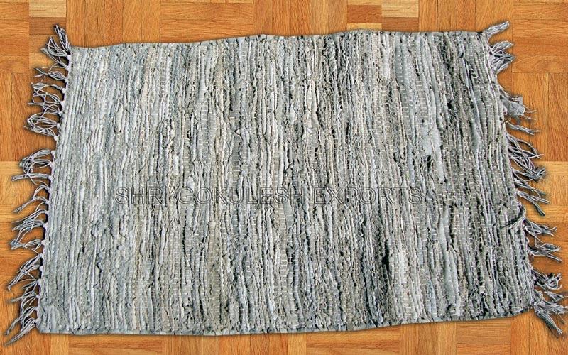 Handloom Leather Rug From Shri