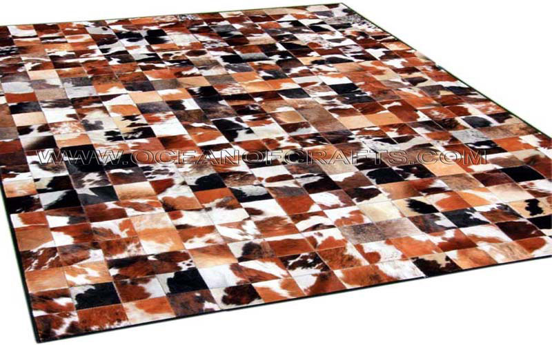 Leather Hide Patch Work Carpets From Shri Gokulesh
