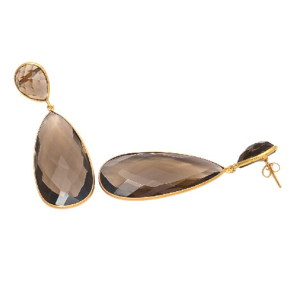 Dangling Earrings Brown Gemstone Earrings Jewelry Smoky Hydro Designer Earrings for Women Smoky Quartz Jewelry Drop Golden Earrings