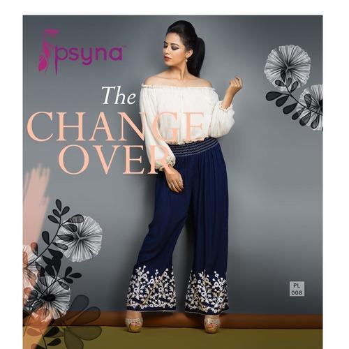 Ladies Embroidered Blue Palazzo Pant