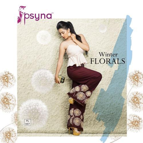 Ladies Embroidered Brown Palazzo Pant (LPL01)