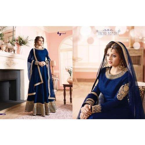 Royal Blue & Gold Anarkali Suits