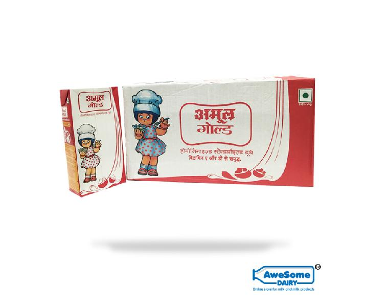 Amul Gold Homogenised Standardized Milk 1 litre,12 Packets