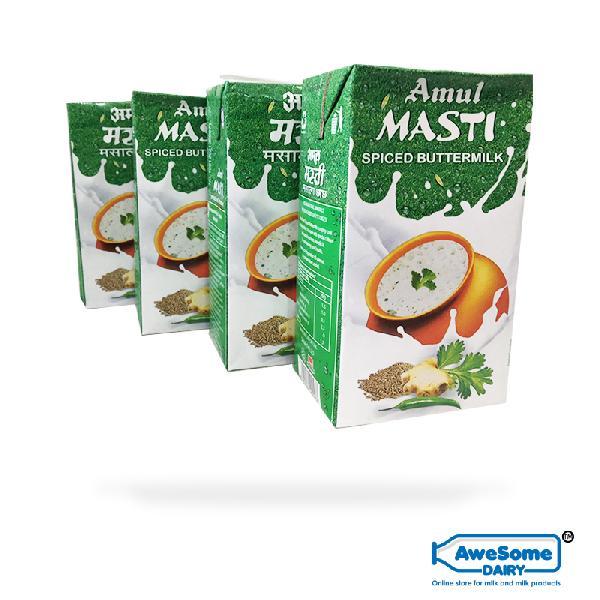 Amul Masti Spiced Buttermilk 1 litre,4 Packets