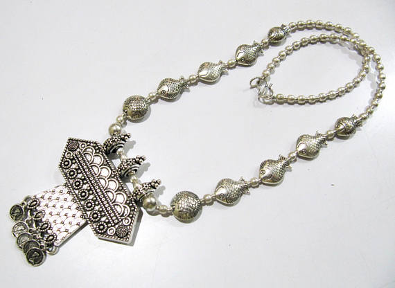 German long silver necklace manufacturer in agra uttar pradesh india german long silver necklace aloadofball Images